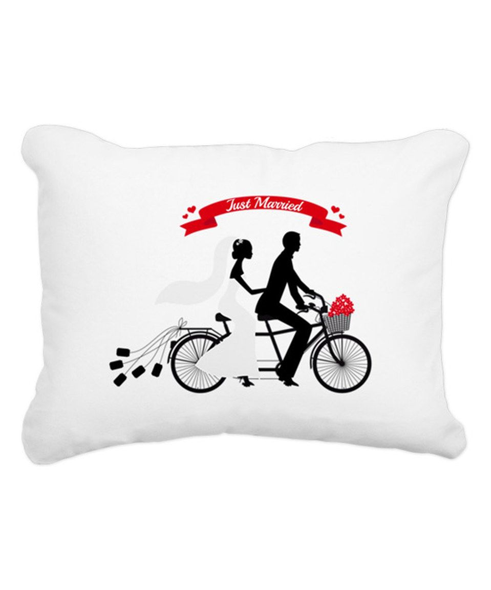 Love this 'Just Married' Bride and Groom Tandem Bicycle Rectangular Pillow by CafePress on #zulily! #zulilyfinds