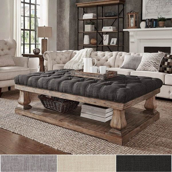 Decor Coffee Table Distressed Stockton Farm: Knightsbridge Tufted Linen Baluster 60-inch Cocktail