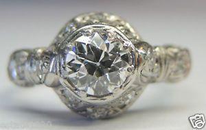 Antique European Diamond Engagement Ring Platinum Art Deco Vintage Estate Bridal Fine Jewelry CIRCA ~ 1930's Diamond Total Weight ~ .81 Carat Ring Size ~ 6 UK-1/2