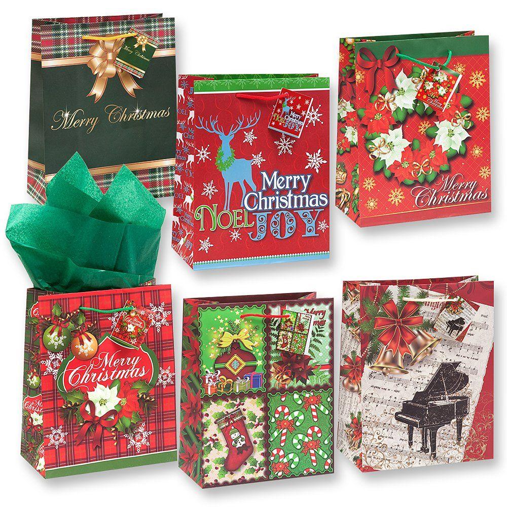 Christmas Bags In Bulk.12 Christmas Gift Bags Medium Bulk Assortment With Handles