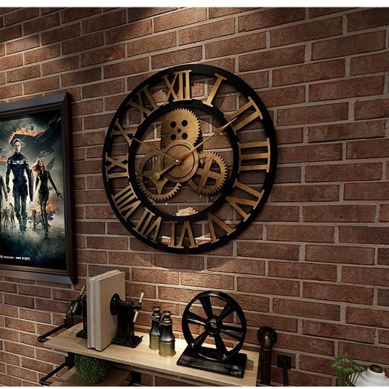 Industrial Gear Wall Clock Decorative Retro Mdl Wall Clock Industrial Age Style Room Decoration Wall Art Deco In 2020 Gear Wall Clock Big Wall Clocks Wall Clock Design