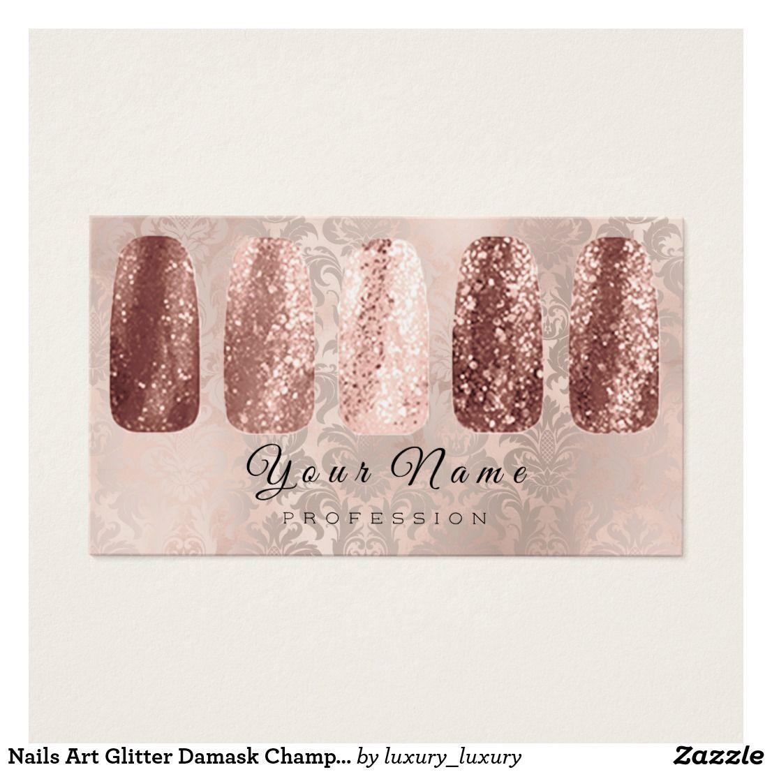 Nagel Kunst Glitzer Damast Champagne Rosen Gold Visitenkarte