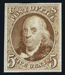 United States 1875 Reprints of the 1857-61 Issue , Scott 3 - U.S.; General Issues, 1847 (1875 Reproduction), 5c Red Brown, Scott Nos. 3, ungummed, 4 good margins, Grade 80 very fine, PF (2014) cert. (Photo). Scott $825. 4779 issued. Estimate$550-650.  Lot condition (*)  Dealer Harmer-Schau  Auction Starting Price: 525.00 US$