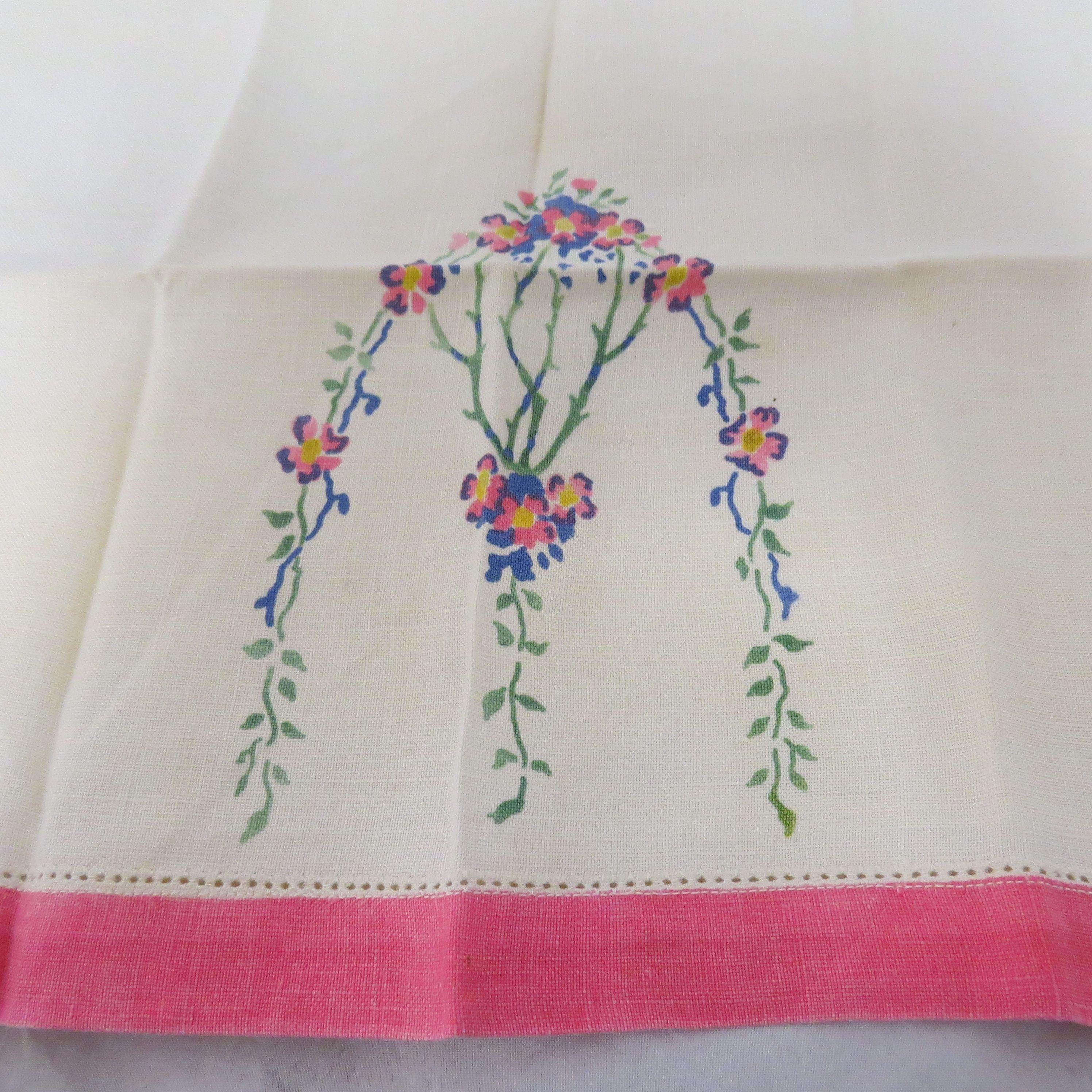 Vintage Stenciled Linen Cup Towel Dish Towel Hand Towel Tea Towel Blue Pink Green Art Nouveau Blue Towels Vintage Linens Hand Towels