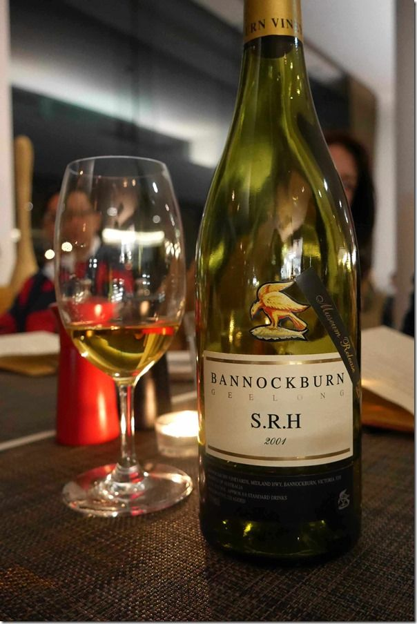 The Monk brings his 2001 Bannockburn SRH Chardonnay to dinner and it does not disappoint.  After 13 years in the bottle, the colour of this wine is a vibrant gold. There is complex stonefruit aromas with a velvety palate and long oaky finish. This bottle is truly one of the great interpretations of the varietal.