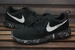 premium selection 4a8c4 6e09f New Nike Roshe Run Triple Black Oreo White Splatter Speckle Men  Women