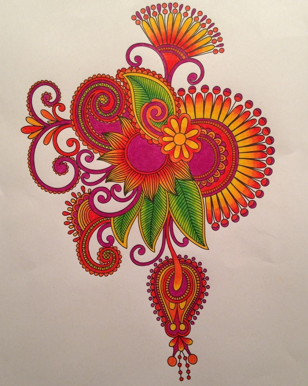 Posh coloring book soothing designs for fun and relaxation - Completed Coloring Page From Just Add Color Tattoos