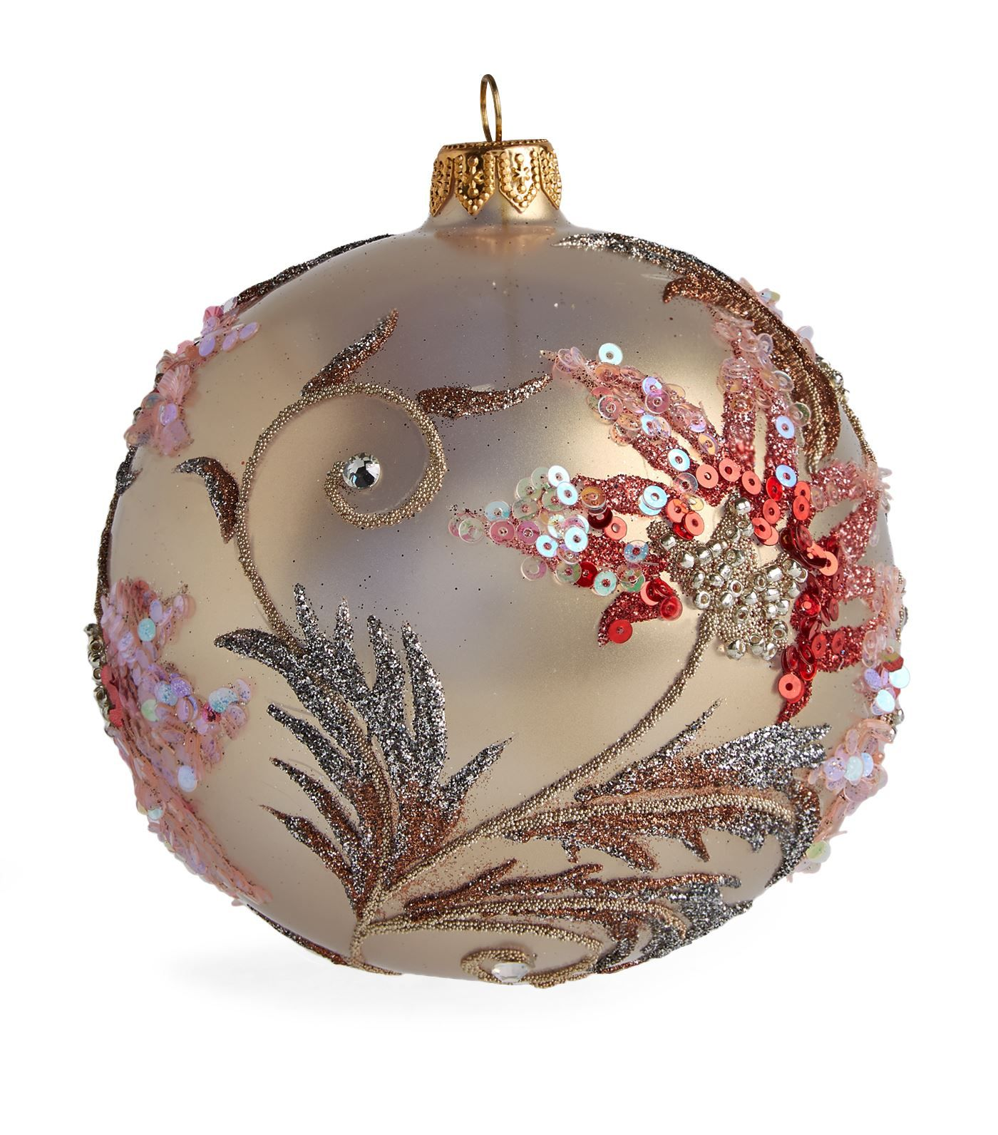 Harrods Floral Leaf Glitter Christmas Bauble Harrods Com Painted Christmas Ornaments Christmas Tree Decorations To Make Glitter Christmas