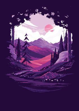 Metal Poster Purple Scenery