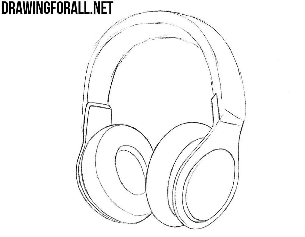 How To Draw Realistic Headphones Headphones Drawing Realistic Drawings Headphones