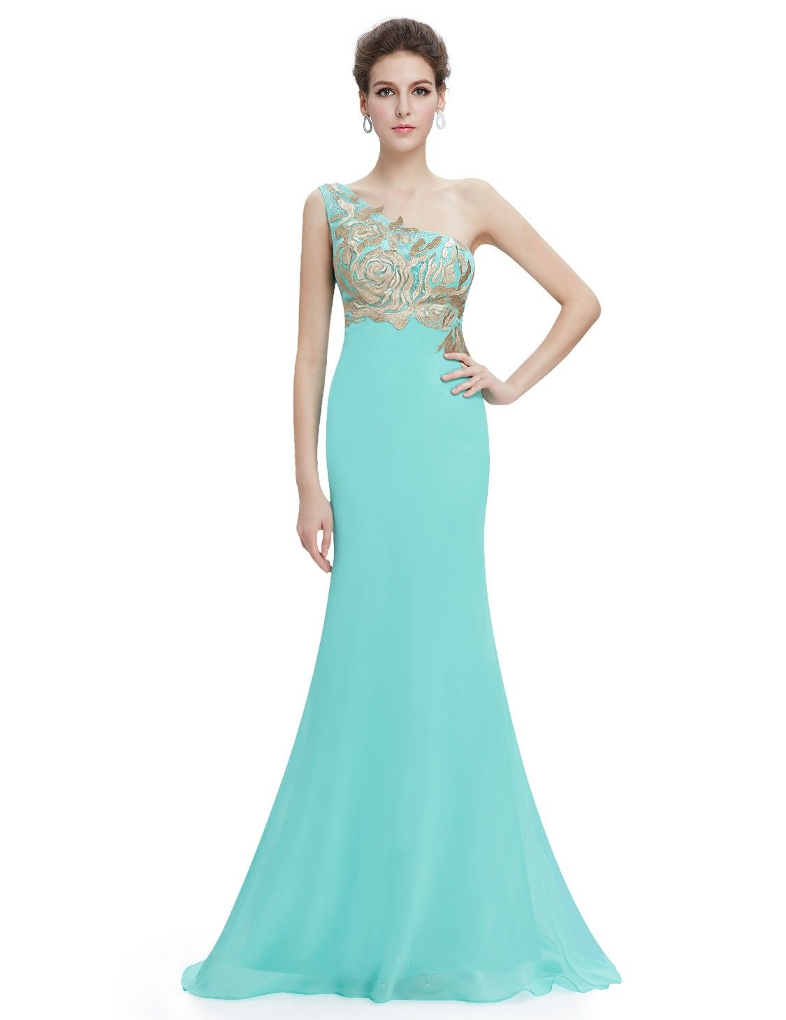 One Shoulder Light Blue Evening Dress #everpretty | Evening Dresses ...