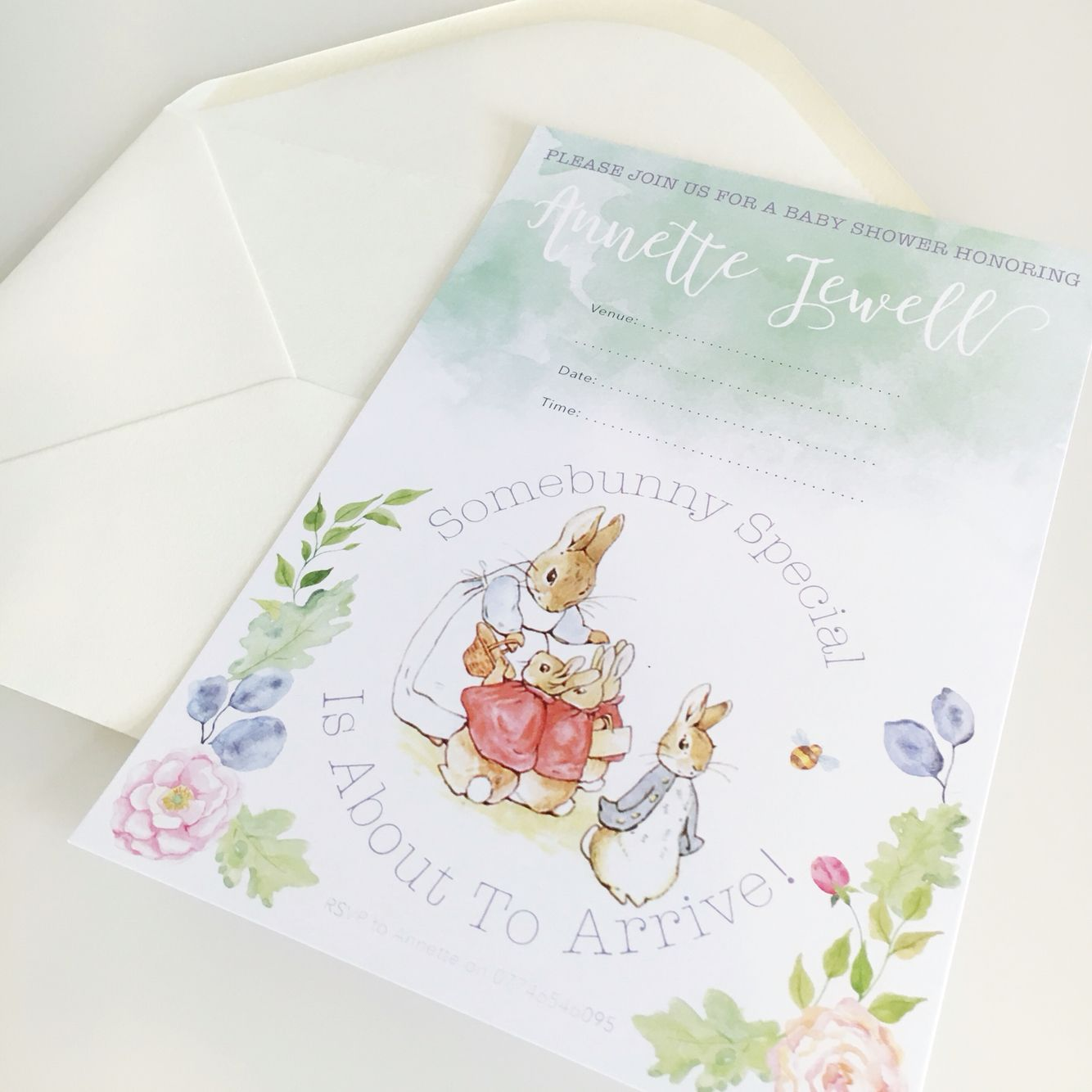 Beatrix Potter themed Baby Shower invitation \