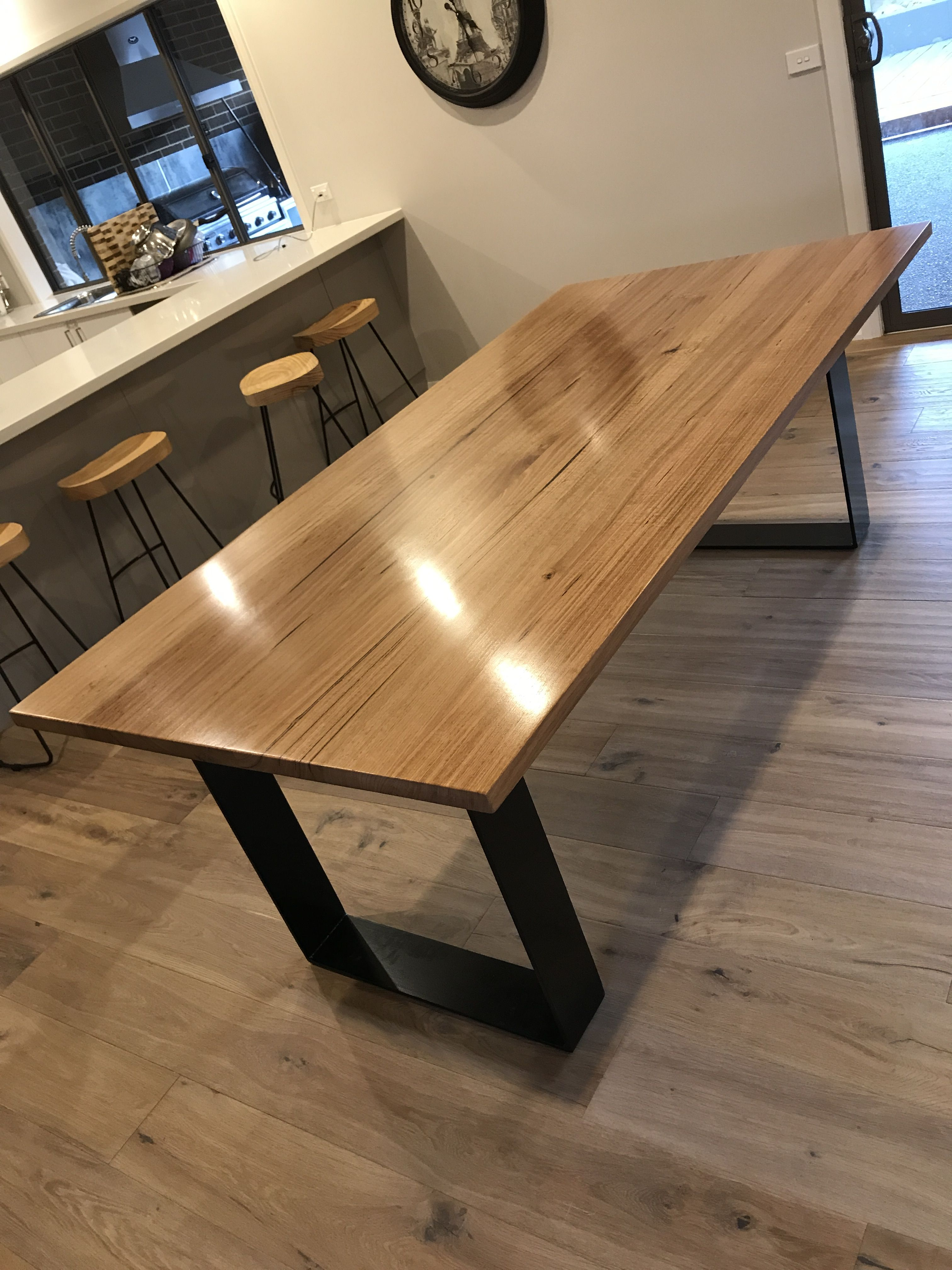 Timber Table Legs Messmate Timber Dining Table Black Metal Legs Timber Dining