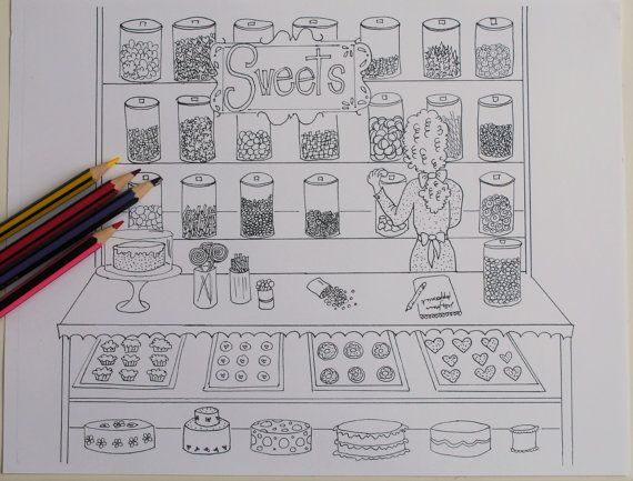 Sweet Shop Adult Coloring Page Candy Store Bake Shop By Ivyhouse