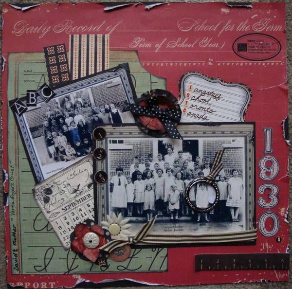 "Graphic 45 SCHOOL DAYS - Vintage School Layout I really like this for those school photos--nice way to highlight the ""important"" person in the group shot."