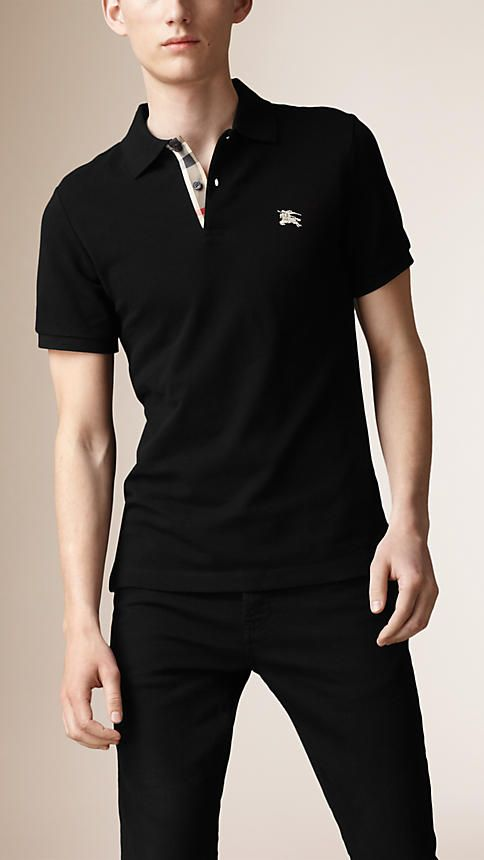 295f883de Black Check Placket Polo Shirt - Image 1
