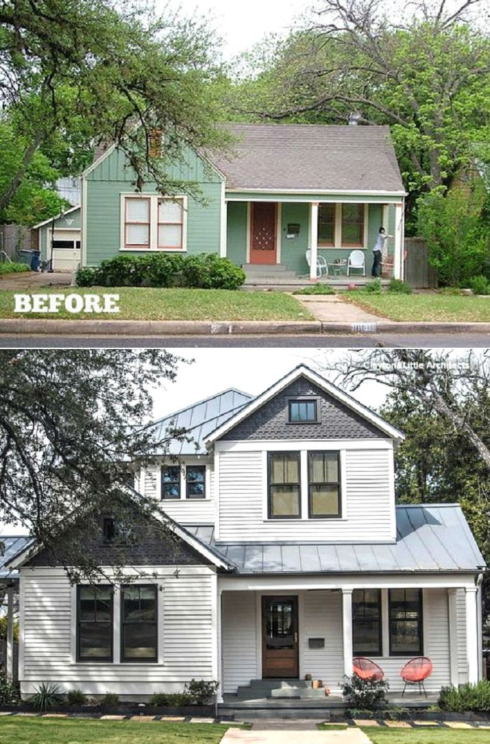 Adding A Second Story To A Small Bungalow Ranch Remodel Small Bungalow Home Exterior Makeover