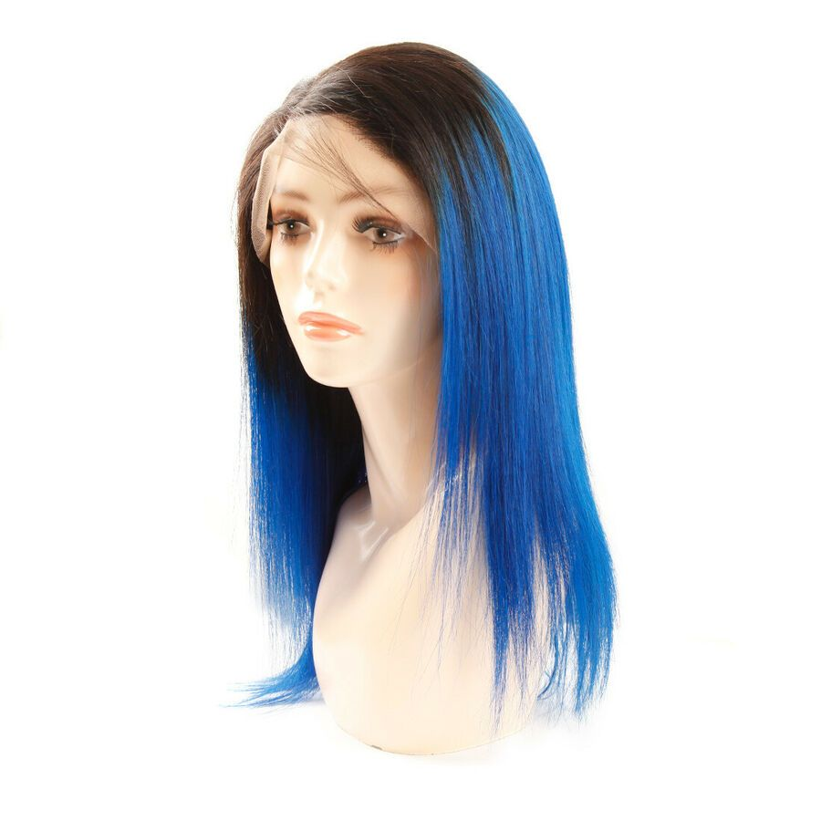 12 1b Blue Ombre Wigs Straight Lace Front 4 4 Lace Frontal