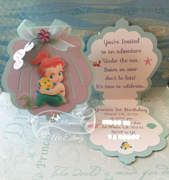 Disney Baby Ariel Seashell Invitation En 2018 Sirena Pinterest