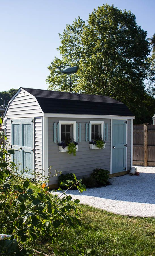 She sheds are all the rage and I feel so lucky to have one of my very own.  A coastal she shed. Sharing a sneak peek and my post on The Home Depot. - My Coastal She Shed On The Home Depot BACKYARD