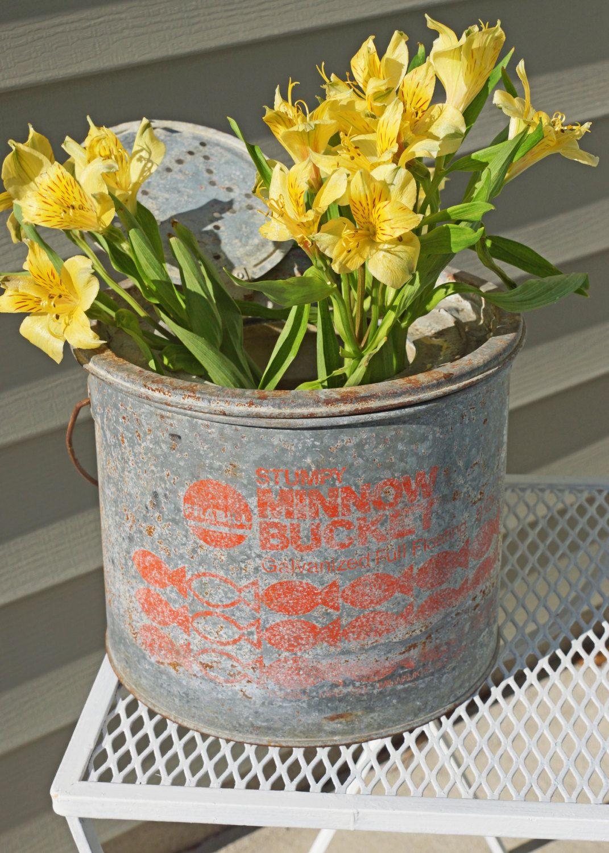 Vintage Stumpy Galvanized Minnow Bucket 23 00 Via Etsy