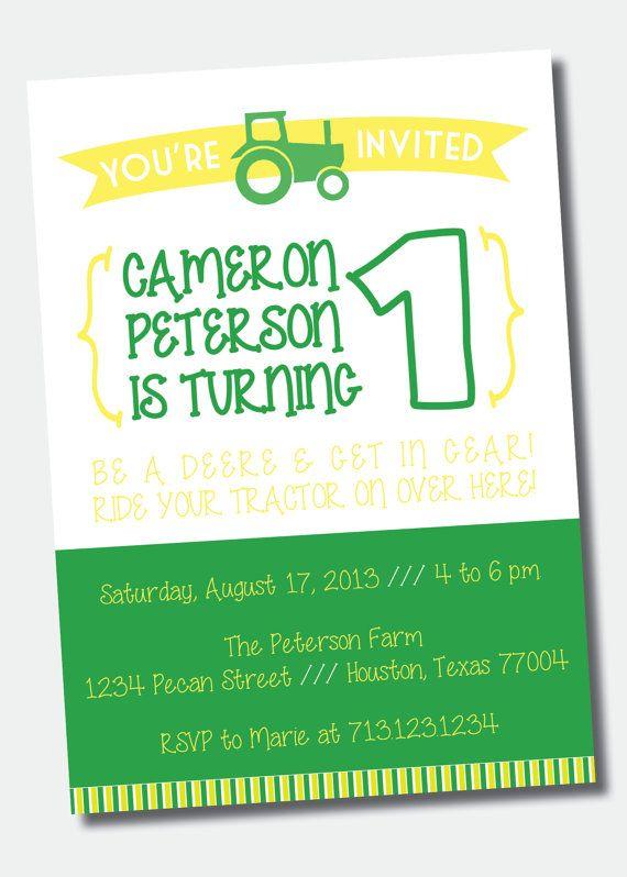 John Deere Birthday Party Invitation On Etsy Jude Party - John deere 2nd birthday party invitations