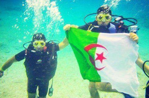 Flag Algeria in the sea  algeria  Pinterest