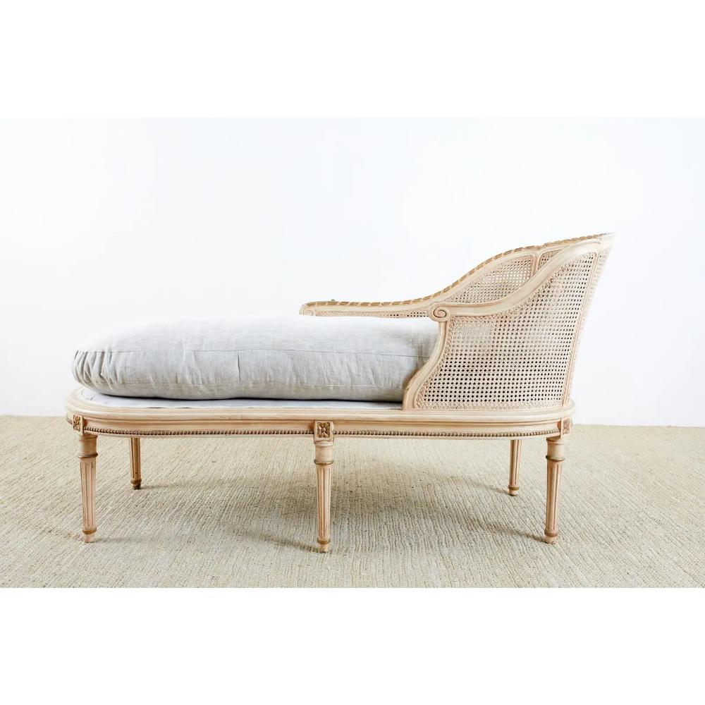 Louis Xvi Style Caned Chaise Longue Linen Daybed Chairish In 2020 Chaise Longue Louis Xvi Style Chaise