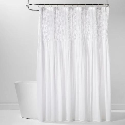 Diamond Pinch Pleats Shower Curtain White Threshold Yellow