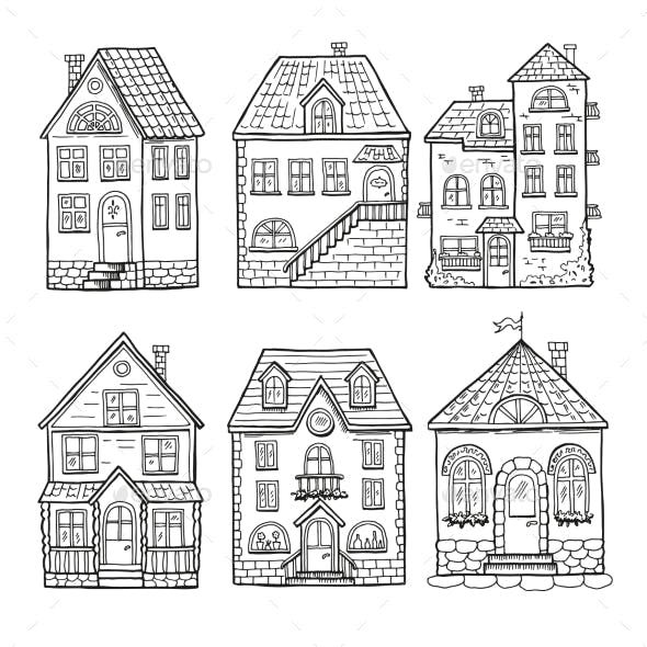 Little Houses And Different Roofs Cute Little Houses House Doodle House Illustration