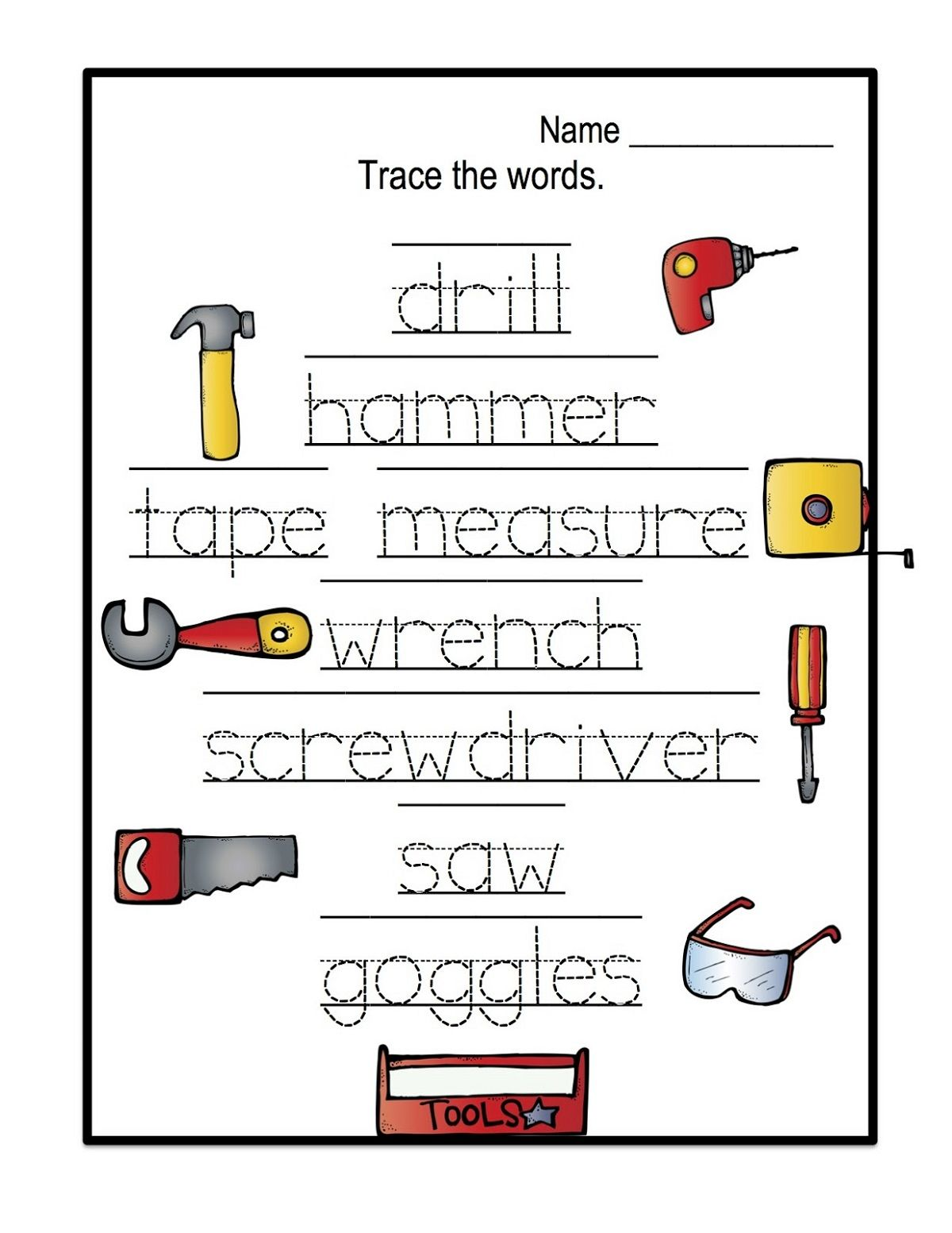 Name Trace Worksheets Easy