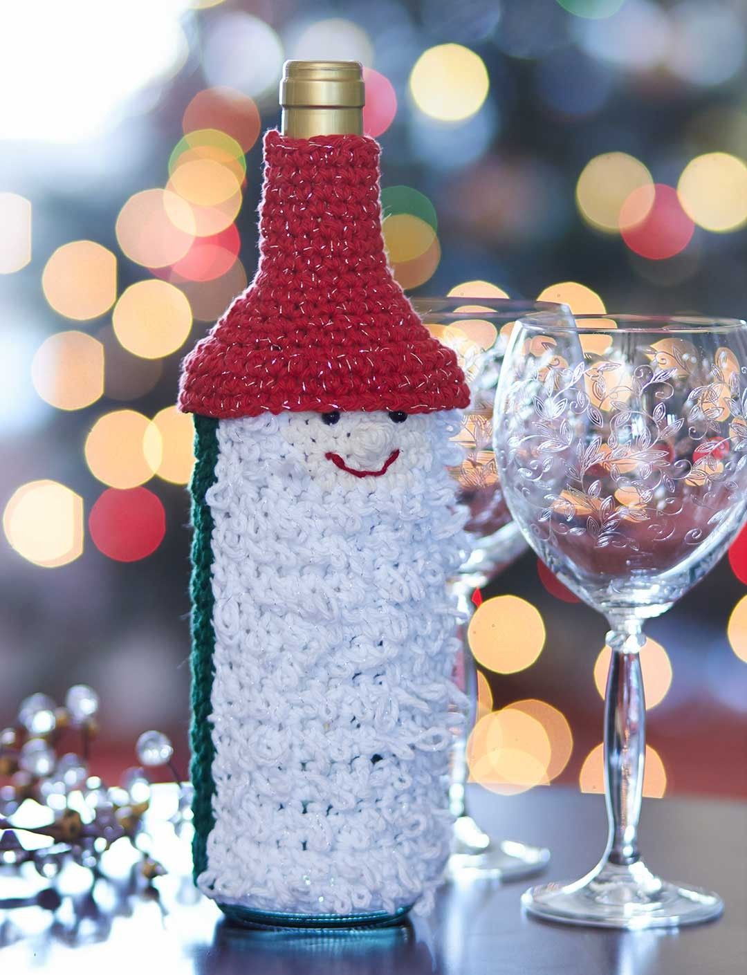 Yarnspirations Com Bernat Gnome For The Holidays Wine Bottle Cozy Patterns Yarnspirations Holiday Wine Bottles Bottle Cozies Christmas Crochet Patterns
