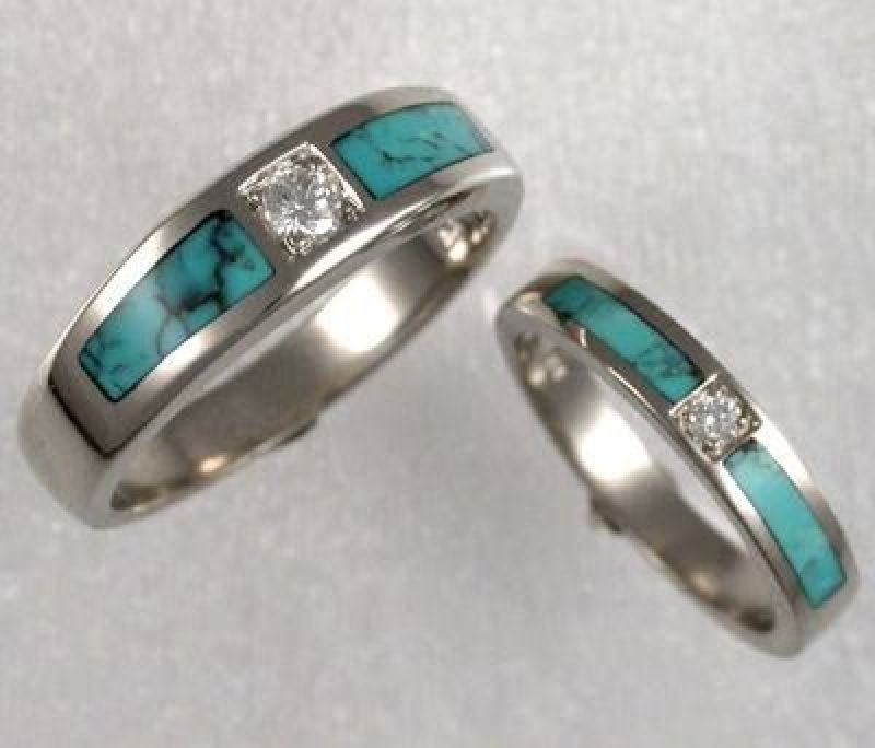 Turquoise Engagement Ring With Turquoise Wedding Band Turquoise Ring Engagement Turquoise Wedding Rings Unusual Wedding Rings