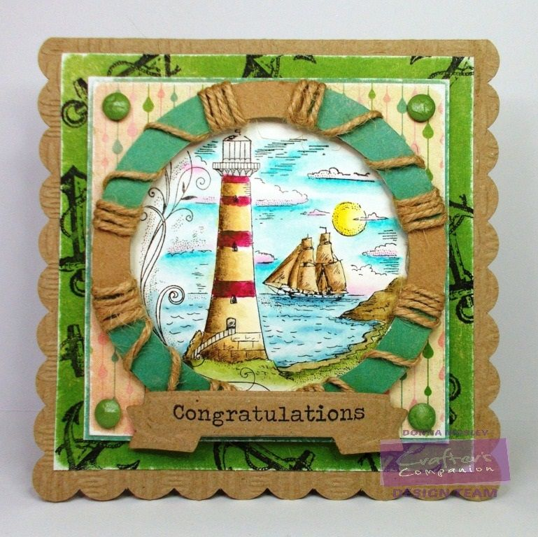 card by Donna Mosley for #SpectrumNoir using #SpectrumAqua (moss, charcoal, dessert, burgundy, blossom, kingfisher, navy, boulder, aquamarine, yellow, topaz) #lighthouse #nautical