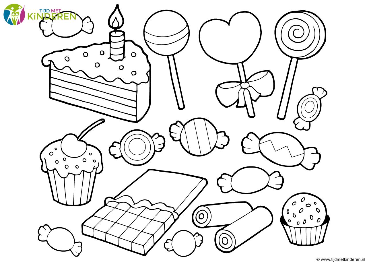 kleurplaat snoep en taart png 1279 215 913 kleurplaten