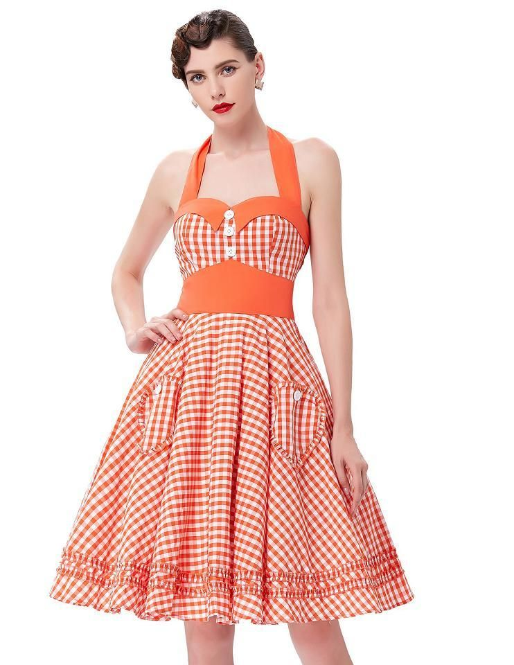 6859fe9429cf Woman Summer Plaid Rockabilly Dress 2017 Retro Vestidos Pin up Big Swing  1950s Vintage Womens Plus Size Clothing Party Dresses