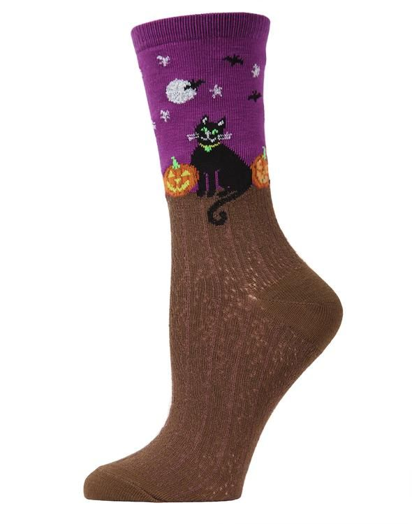 a0082d790 MeMoi Starry Night Cat Crew Socks