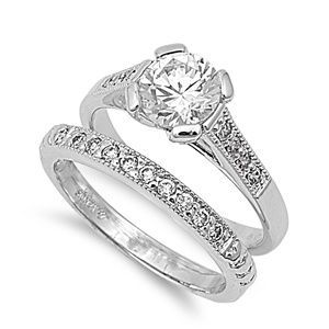 Solitaire 18k White Gold Plated Simulated Diamond Engagement Ring
