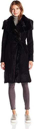 Vince Camuto Womens Belted Wool with Shearling and Toscana Detail