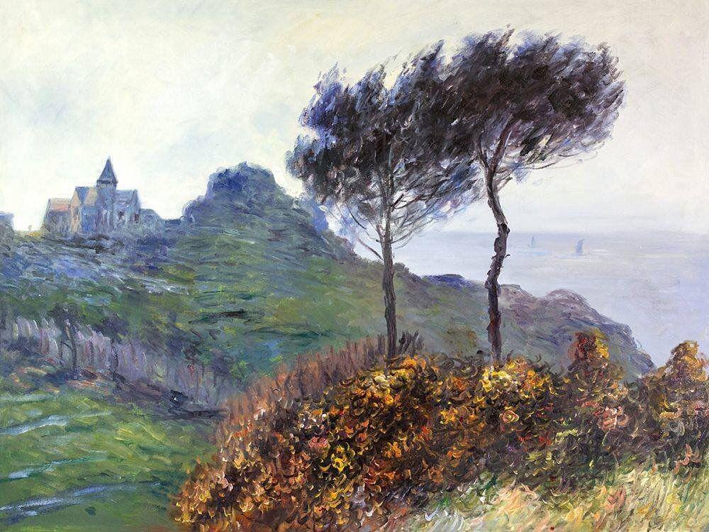 Claude Monet - The Church at Varengeville, Grey Weather . . . . . . . .  #overstockart #oilpaintings #oilpaintingsonc… in 2020 | Hand painting art,  Painting, Monet paintings