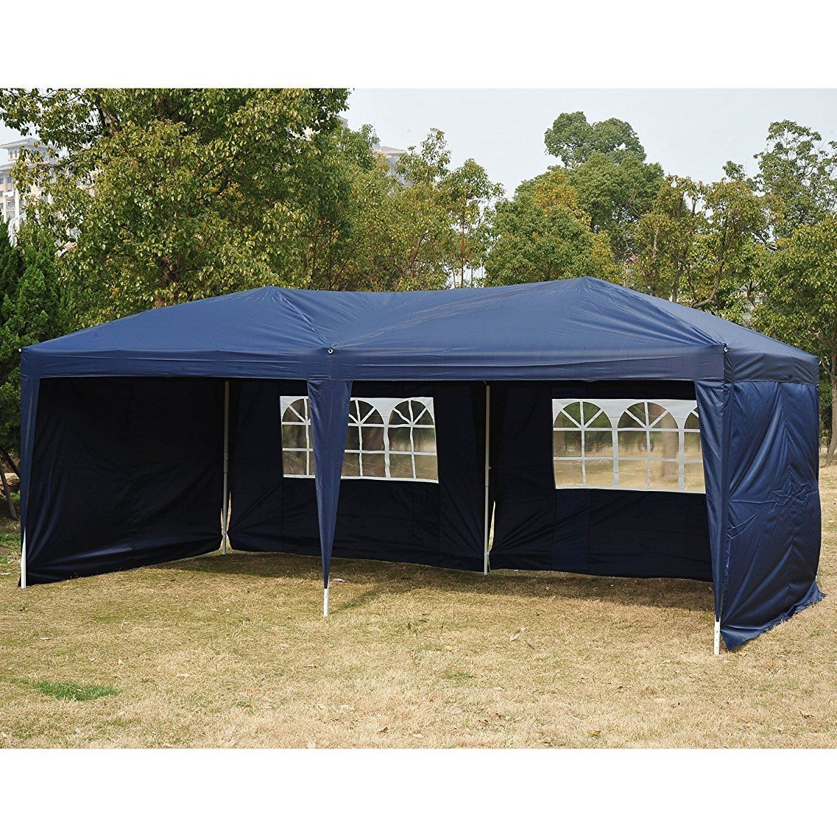 Outsunny 10 X 20 Easy Pop Up Canopy Party Tent Navy Blue W 4 Removable Sidewalls Pop Up Tent Canopy Tent Gazebo Canopy