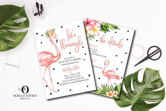 Lets Flamingle Bachelorette Weekend Invitation Flamingo Party Itinerary Girlfriend Getaway 30th Birthday 40th 50th 21st