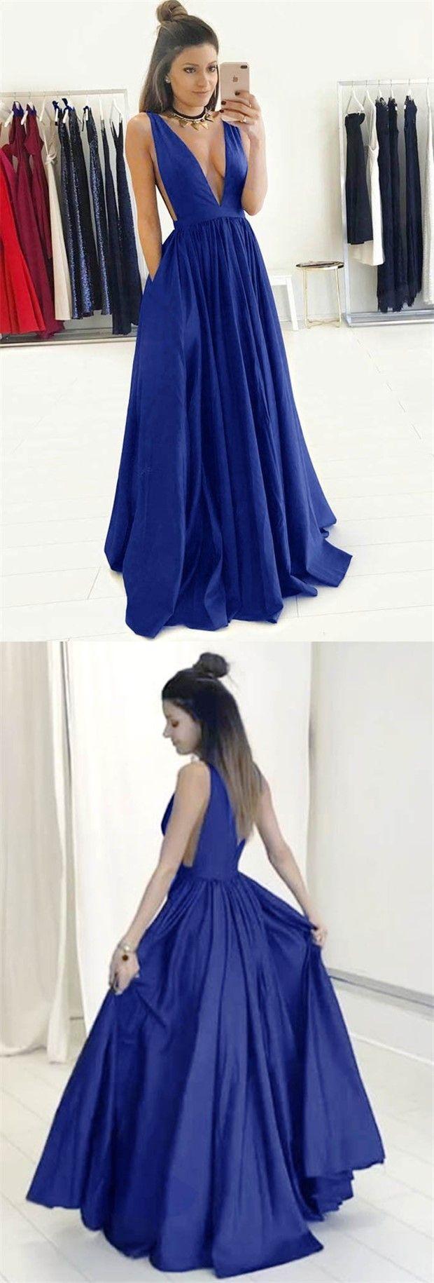 Aline deep vneck sweep train royal blue satin sleeveless prom
