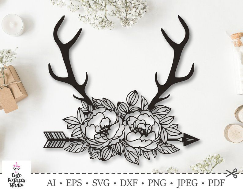 Floral Deer Antlers. Flower Antlers clip art. Farmhouse. Cut | Etsy
