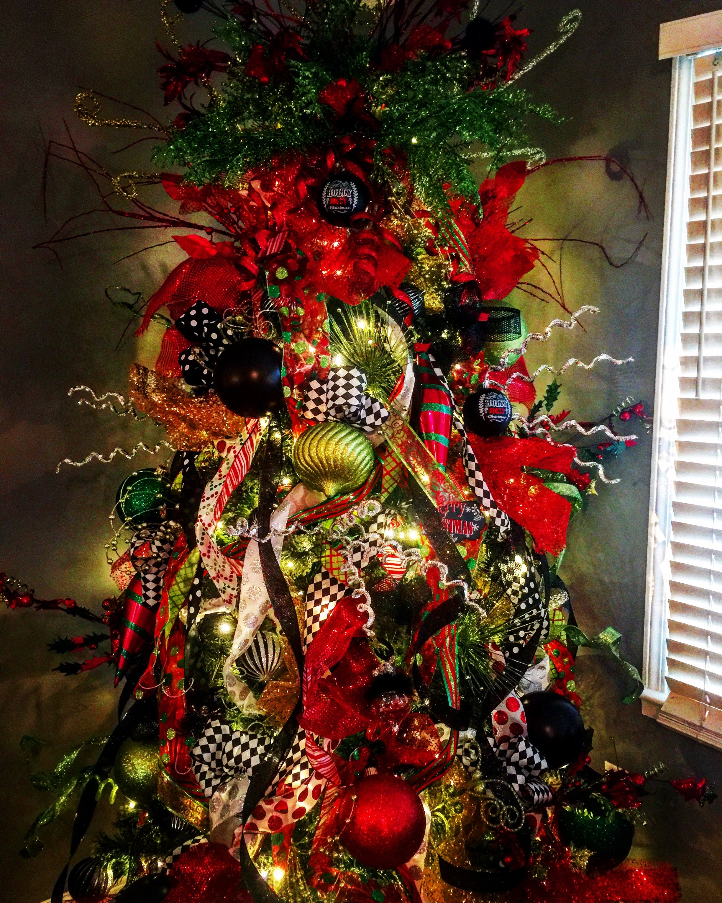 Christmas Tree: Red, green, black and white decor designed ...