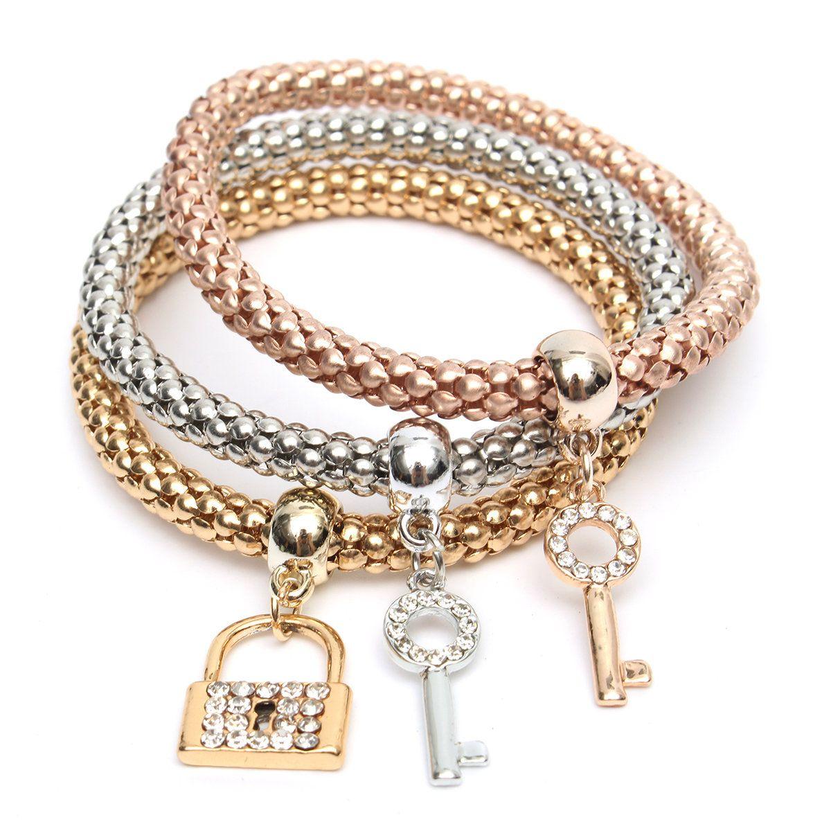 Pcs elastic crystal love key pendant elegant gold silver multilayer