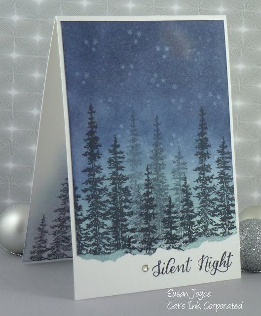 handmade winter scene card from Cat's Ink.Corporated: Silent Night ... forest of pines on a starry night ... great use of s double stamping for depth ... Stampin' Up!