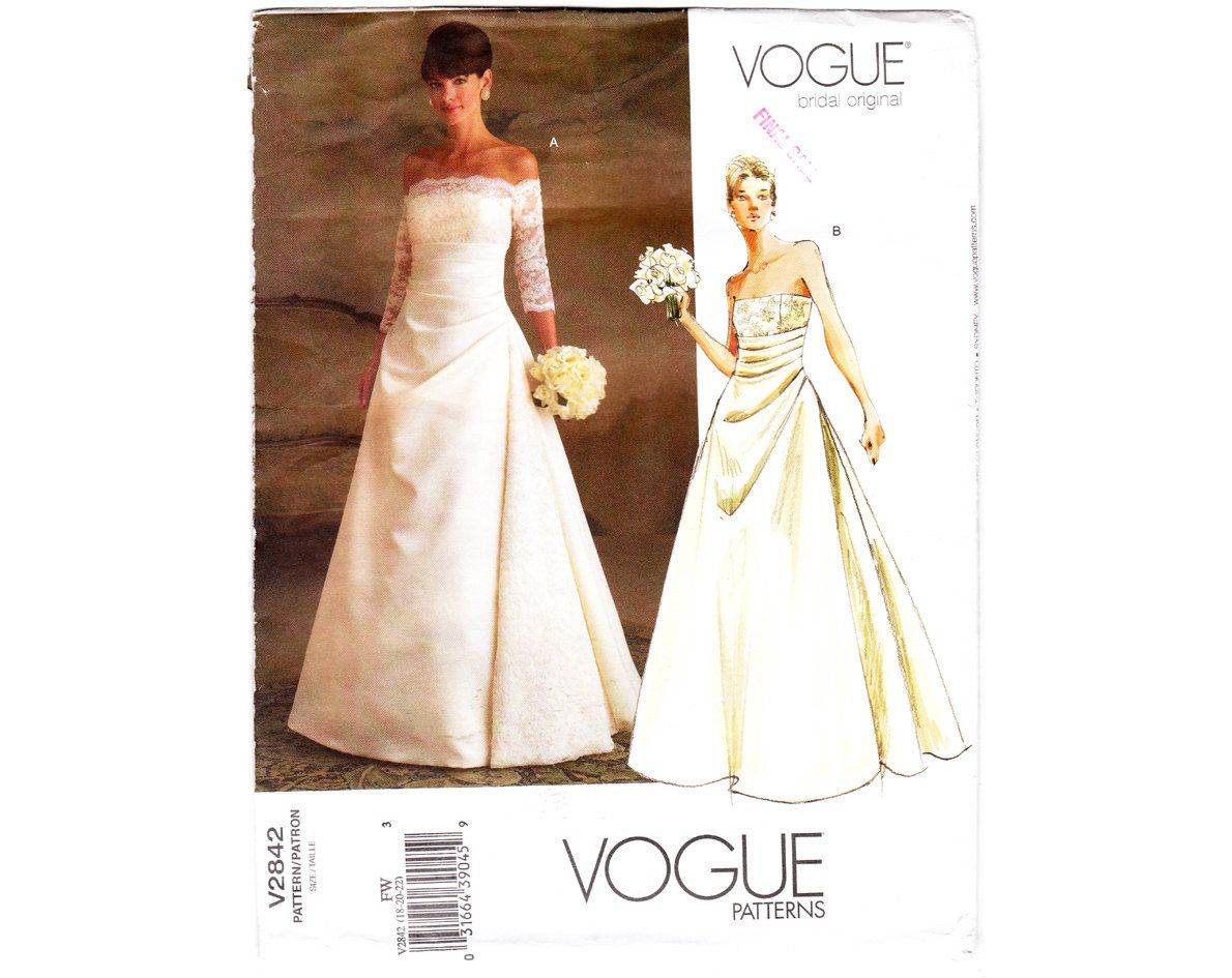 2000s Wedding Dress Sewing Pattern / Vogue by
