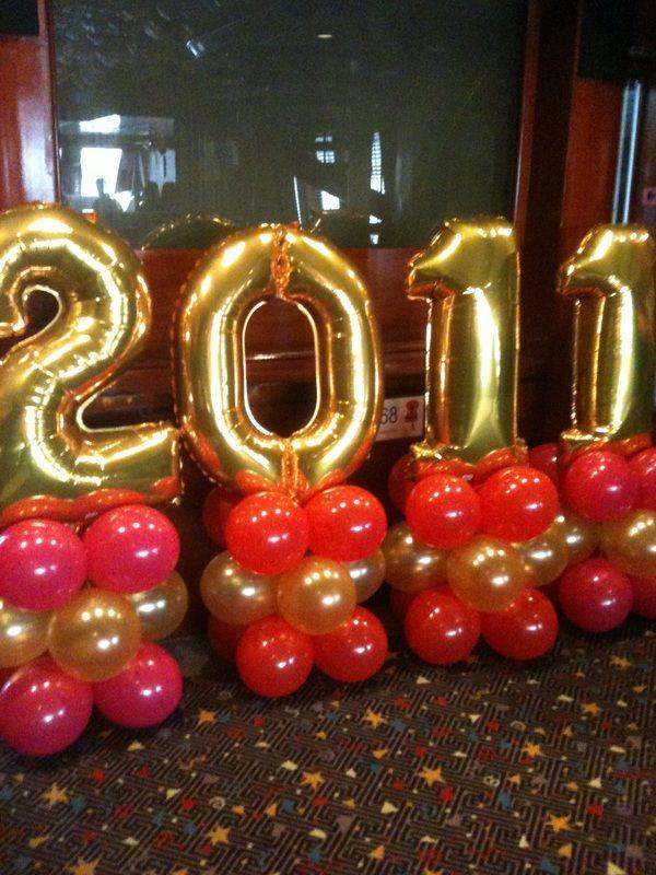 New Year Balloon Decor Mini Number Columns Theme Names Words