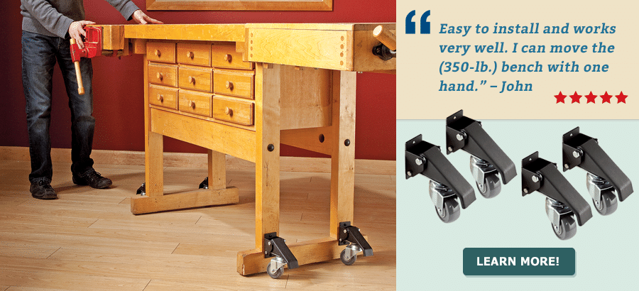Rockler Workbench Caster Kit With Quick Release Plates Workbench Casters Easy Woodworking Projects Woodworking Projects
